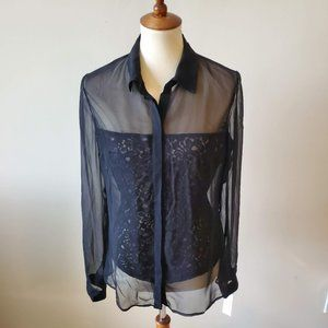 Bailey 44 Silk Black Floral Lace Sheer Blouse NWT
